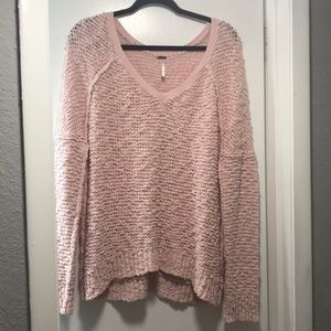 Free people pink nubby sweater